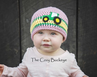 Pink John Deere Tractor Girls Crochet Beanie Hat