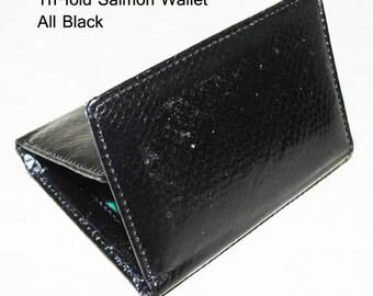 Salmon Leather Tri-fold Wallet Black