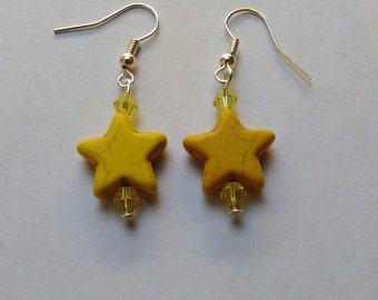 Yellow Coloured Turquoise stone stars,  beaded dangly Earrings