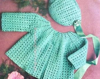 Baby Crochet Pattern Matinee Coat, Bonnet 4 ply pdf