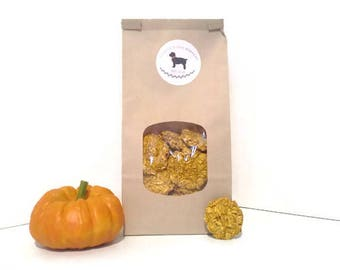 1/2 lbs: Pumpkin Oatmeal Dog Biscuits - Steel Cut Oats Natural Pumpkin Healthy Puppy Treats Human Grade Ingredients Pet Gourmet Gift