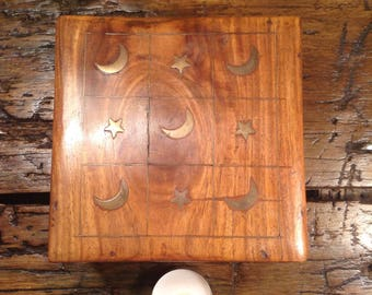 Vintage wood and brass, moon and stars, lunar / solar system box. Keepsake box, memory box, trinket box, jewellery box.
