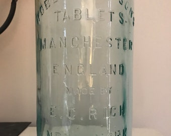 FREE SHIPPING - Antique Robert Gibson Tablets Aqua Glass Medicine Bottle