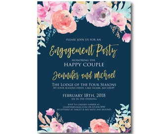 Floral Engagement Party Invitation, Watercolor Floral, Engagement Party, Flowers Invitation, Gold Glitter, Watercolor Invitation #CL321