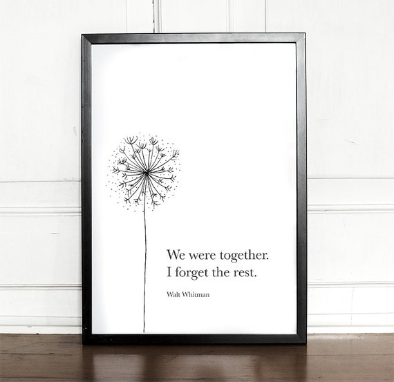 We were together I forget the rest Walt Whitman Giclee Art