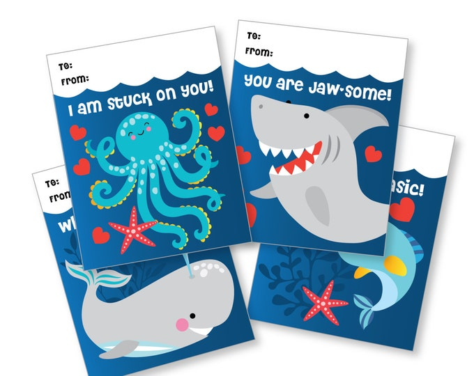 Under the Sea Valentines Day Cards / printable DIY card / classroom Valentine for kids / Instant Download / Valentine Cards, Shark, Octopus