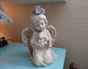 Crowned, Cherub, Angel with bunny, distressed, Shabby Cottage Decor