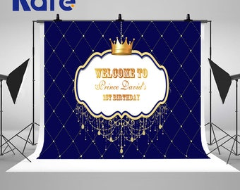 Prince Theme Baby Shower Baptism Photography Backdrops Royal Blue and Gold Photo Backgrounds for Children Birthday Party Studio Props