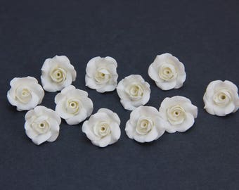 "White Roses beads (5pcs), white pearl roses, Flower beads, handmade beads, polymer clay beads 0,68""-0,76"" (1,7-1,9cm), rose beads"