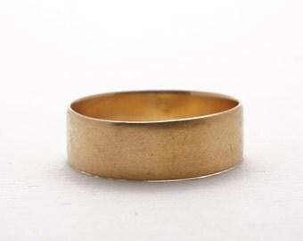 Vintage Wedding Band | Cigar Band |Woman's | Gold Ring | 18k | Yellow Gold | Matte Finish
