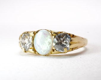 Opal Ring | Engagement Ring | Antique | Vintage | Old Cut Diamonds | Old Mine Cut Diamonds
