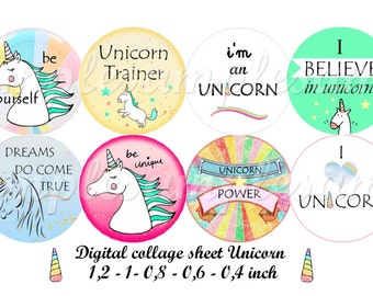 Digital collage sheet, digital images unicorn  digital collage for pendant, one inch circle, bottle caps, instant dowload,