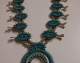 Vintage Zuni Petit Point Squash Blossom Necklace - FREE SHIPPING & Layaway