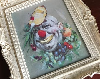 Clown Framed Print by Artist Cydney Gossman, The Fruit Clown Signed Cydney in Original Vintage Frame, Circus Clown Art