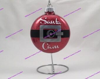 Santa Cam Ornament, Santa Cam Glittered Ornament, Santa Cam Belt, Santa Spy Cam, Santa Cam, Red Glitter Ornament, Red Santa Cam, Santa Belt