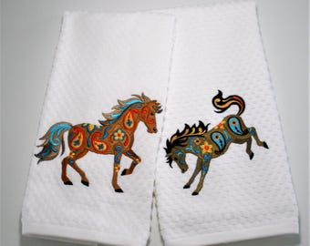 "Horse Towel, Horse Dish Towel, Horse Gift, Horse Decor, Horse Lover, Hostess, Birthday, Western Decor, Kitchen Towel, Ranch Decor ""Gallop"""