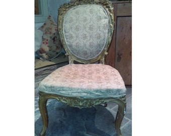Antique French Louis XV style ornate carved gilt gesso salon chair for restoration and upholstery