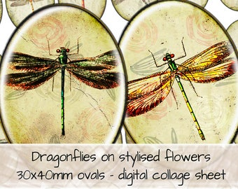 Dragonflies on Textured Paper & Stylized Flowers 30x40mm ovals digital collage sheet 0314