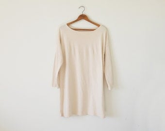 Vintage oversize ivory top / 90s slouchy knit top