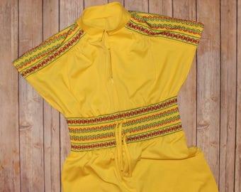 Vintage 1970's Jumpsuit Yellow Hippie Short Sleeve Wide Leg