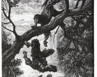 Gustave Dore: Heavy Fall (Illustration from Le Capitaine Fracasse) Fine Art Print/Poster. (003975)