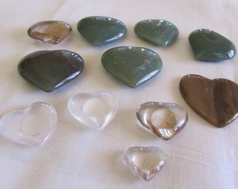 Lot of 11 Carved Stone Hearts