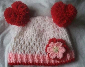Crochet Valentine Baby Hat