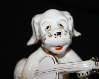 Ceramic Dog Figurine Riviera Collection Guitar Playing White Gold Trim Vintage Made in Japan 1950s