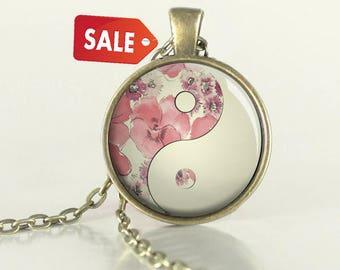 SALE - Yin Yang Necklace - Red - Yin Yang - Pendant - Tao - Taoist - Jewelry - (B8825)
