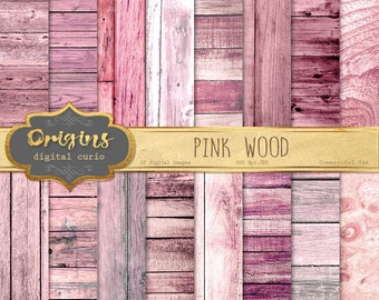70% OFF Pink Wood Digital Paper, rustic wood texture, wooden planks backgrounds, instant download commercial use