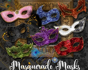 Masquerade Masks Clipart, Mardi Gras mask clip art, Carnival graphics, Venetian mask, costume party digital instant download commercial use