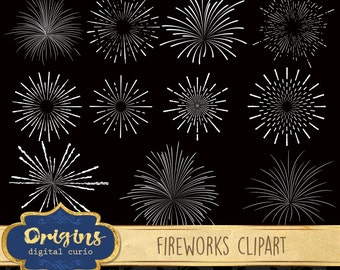 Fireworks Clipart - Firework Vector Clip Art, eps and png vector silhouette graphics, New Years party celebration digital instant download