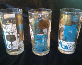 Vintage Around the World Drinking Glasses, Paris,Holland,Africa,Jamaica etc.