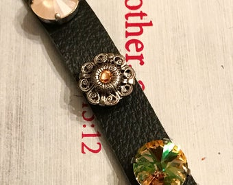 Leather cuff bracelet with Swarovski elements 12 mm / crystal jewelry / boutique style