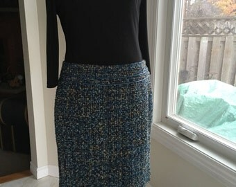 Vintage bouclé skirt pencil skirt lined skirt zipper on the side skirt waist 34