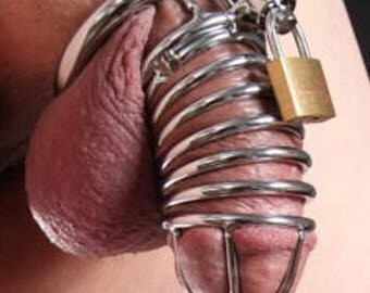 The Jail House  Chrome Steel Chastity Device with 3 rings