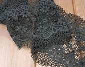 Olive green 18 cm wide Crochet Look Stretch lace by the meter