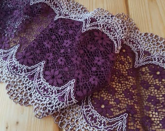 Burgundy White 21 cm wide Crochet Look Stretch lace by the meter