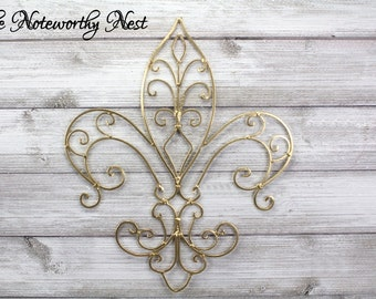 Fleur De Lis Wall Hanging / Metal Scroll Fleur De Lis / Gold Decor / New