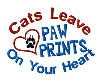 Cats Leave Paw Prints On Your Heart Machine Embroidery downloadable design