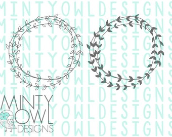 SVG Cut File - DXF PNG Doodle Wreath - Vine - Laurel - Monogram Frame Wreath - Leaves - Scribble - Cutting Files - Silhouette - Cricut
