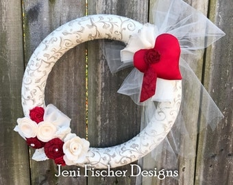 New- Ready to ship! Valentines Day Wreath with Red Satin Heart