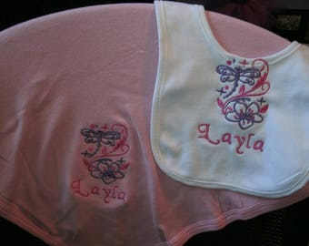 Dragonfly and Flower Personalized Infant Toddler Baby Blanket & Bib Set  Any color