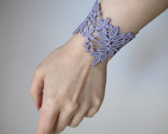 Lace cuff bracelet! Choose your color! Purple taupe, grey taupe, bracelet. Gift for her, gift for woman.