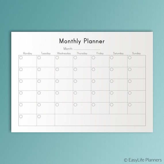 Items Similar To MONTHLY PLANNER Printable A4 Inserts