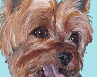 Yorkie art print from original Yorkshire terrier painting