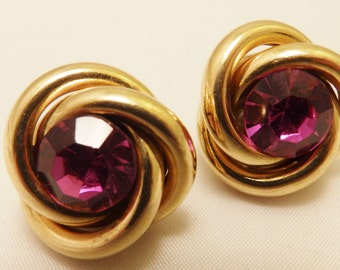 Pink Rhinestone Gold Tone Knot Earrings