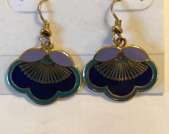 Laurel Burch Navy Blue Floral Earrings