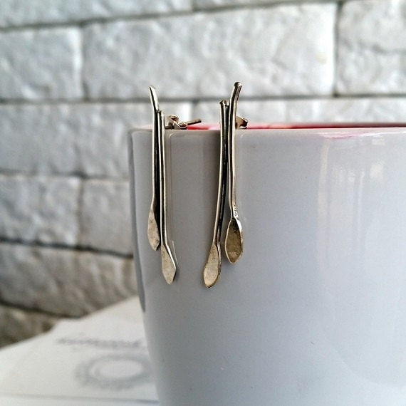 silver bar earrings drop earrings sterling silver drop