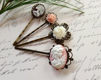 Clips White on Pink Victorian Cameo And Floral Bobby Pins